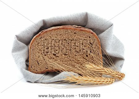 Fresh bread isolated on a white background.