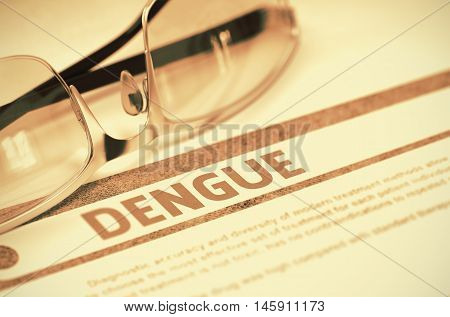 Dengue - Medical Concept with Blurred Text and Glasses on Red Background. Selective Focus. Dengue - Medical Concept on Red Background with Blurred Text and Composition of Glasses. 3D Rendering.