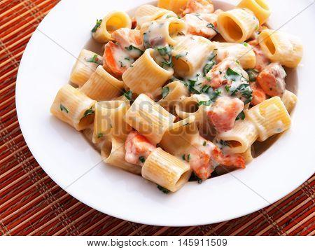 Italian rigatoni pasta with salmon and sour cream. Horizontal shot