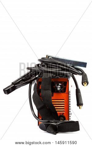 Welding machine with wires isolated on white background.