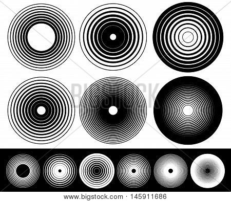 Concentric Circle Elements. Set Of 6 Variation.