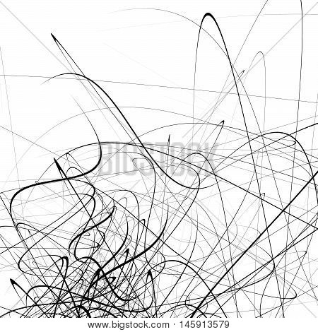 Monochrome Random Chaotic Squiggle Lines Abstract Artistic Pattern