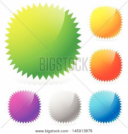 Glossy Starburst / Sunburst Design Elements In 6 Colors