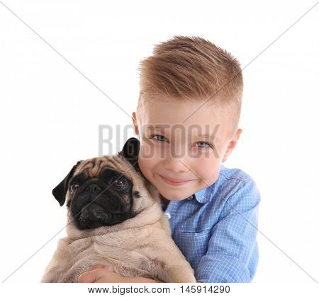 Cute boy with pug dog, isolated on white
