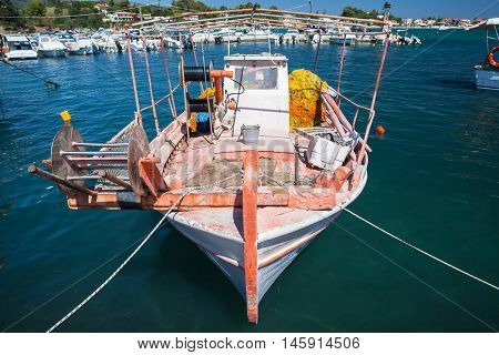 Front View Of Old Wooden Fishing Boat