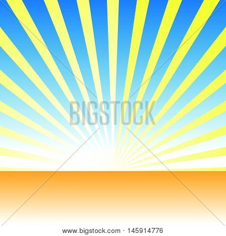 Sunrise, Dawn Over Uncultivated Ground, Desert. Vector Drawing