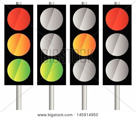 Simple Traffic Light / Traffic Lamp Icon Set