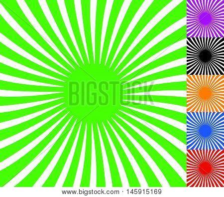 Concentric Spirally Lines. Circular, Twisted Sunburst, Sunburst Pattern. Set Of 6 Colors.