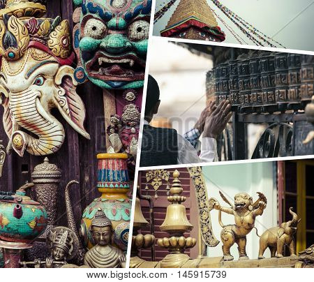 Collage Of Kathmandu (nepal) Images - Travel Background (my Photos)