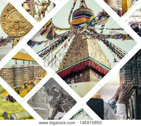 Collage Of Kathmandu (nepal) Images - Travel Background (my Photos)