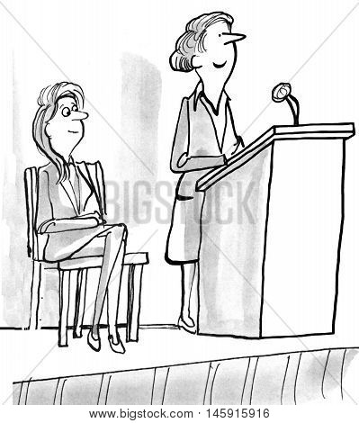 Illustration of smiling woman standing at a lectern.