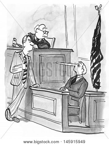 Legal illustration showing a witness giving a dishonest answer in court.