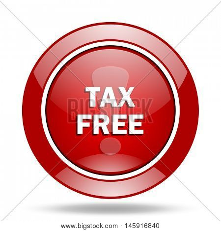 tax free round glossy red web icon