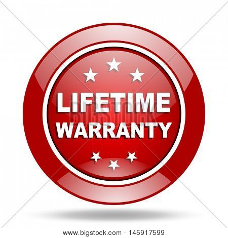 lifetime warranty round glossy red web icon