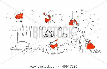 A set scenes with Santa Claus. Merry christmas, collection. Xmas sketch. Hand-drawn elements for New Year's design. Graphic illustration in red, black and white colors.