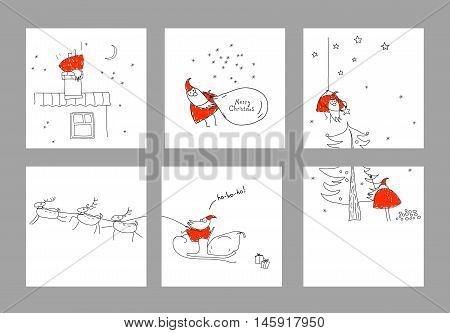 A set scenes with Santa Claus. Merry christmas. Xmas sketch. Hand-drawn elements for New Year's design. Collection of banners, party invitations, scrapbooking, cards, stickers. Red, black, white