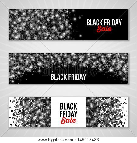 Set of Horizontal Black Friday Sale Banners. Vector illustration. Shimmer Confetti on Dark Background.