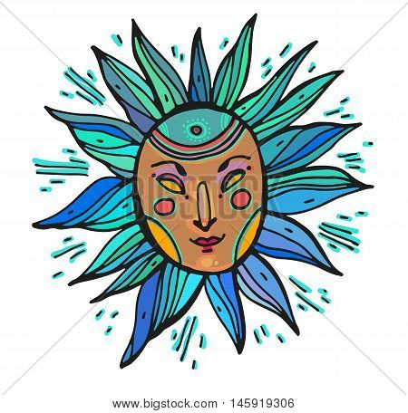Vector illustration of ethnic tribal blue and ocher color mask on white background. Hand drawn line art design. Ethnic mask. Tribal mask. Vector ethnic tribal mask line art.