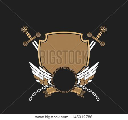 Vector illustration of heraldic coat of arms symbology with additional space for your Insignia