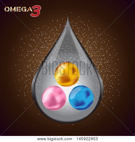 Omega 3 icon , drop and vector . 3 sphere shape omega 3