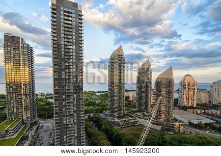 TORONTO CANADA JUNE 28 2016: View to the skyscrapers and Lakeshore.