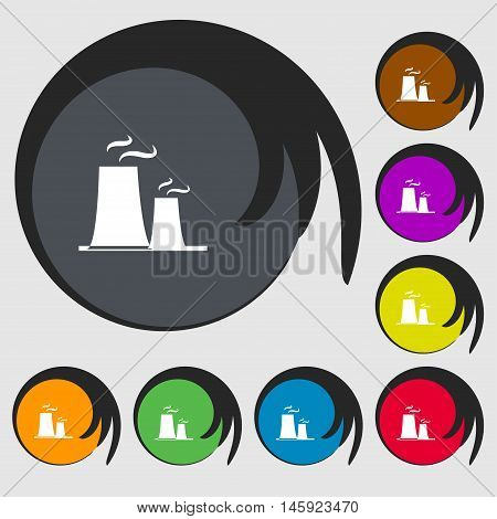 Atomic Power Station Icon Sign. Symbols On Eight Colored Buttons. Vector