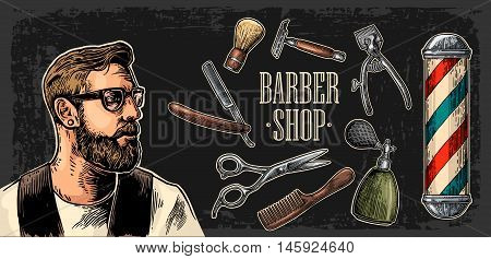Head hipster and equipment for BarberShop with comb razor shaving brush pole scissors and bottle spray. Vector hand drawn vintage engraving for poster label web. Isolated on dark background