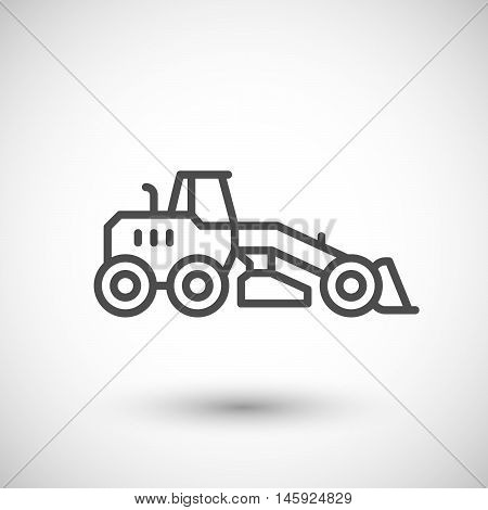 Road grader line icon isolated on grey. Vector illustration