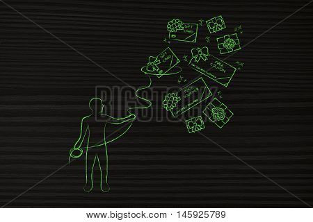 person with lasso catching gift cards and free coupons concept of rewarding clients poster