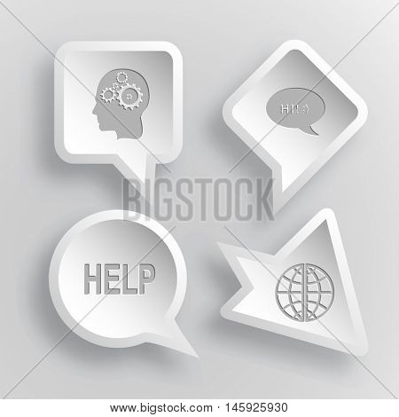 4 images: human brain, chat symbol, help, globe. Education set. Paper stickers. Vector illustration icons.