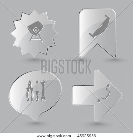 4 images: concrete mixer, two-handled saw, tools, hand drill. Industrial tools set. Glass buttons on gray background. Vector icons.
