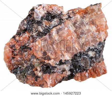 Red Granite Mineral Isolated On White
