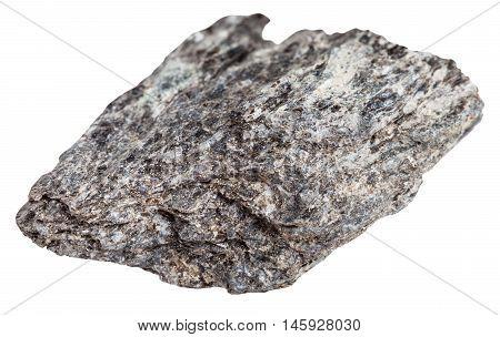 Quartz Biotite Schist Stone Isolated On White