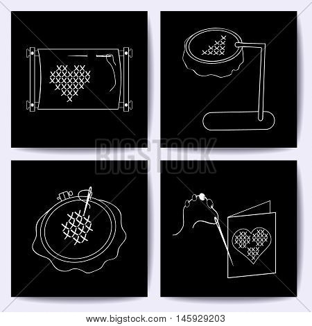 Set of cards with embroidery tools. The white line on blackboard. Stock vector illustrations of objects for embroider handicraft hand made. It can be used for packaging textile label emblem.