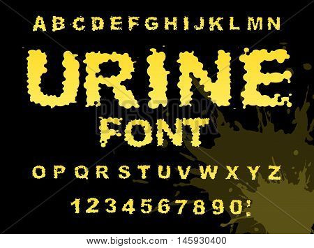 Urine Font. Yellow Liquid Abc. Piss Typography. Wee-wee Alphabet. Fluid Letters