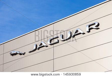SAMARA RUSSIA - AUGUST 27 2016: Jaguar dealership sign. Jaguar is a brand of the British car manufacturer Jaguar Land Rover
