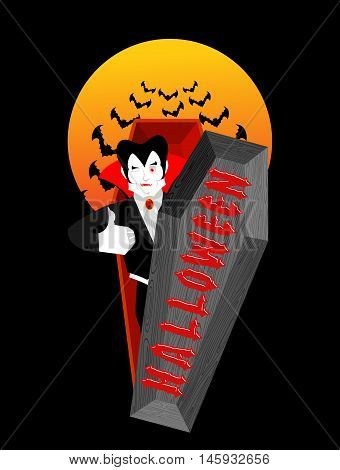 Halloween Typography. Dracula In His Coffin. Logo For Scary Holiday. Vampire And Lettring