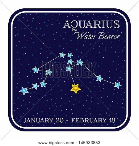 Aquarious zodiac constellation in square frame, cute cartoon style vector illustration isolated on white background. Square horoscope emblem with aquarious constellation, zodiac sign name and month