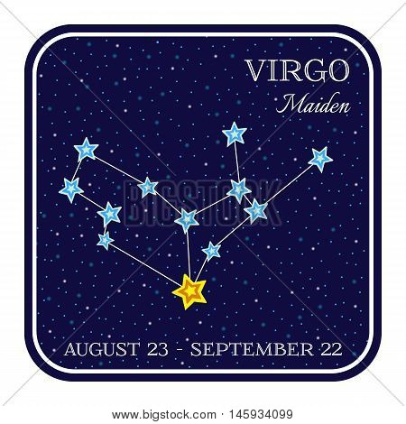 Virgo zodiac constellation in square frame, cute cartoon style vector illustration isolated on white background. Square horoscope emblem with virgo maiden constellation, zodiac sign name and month
