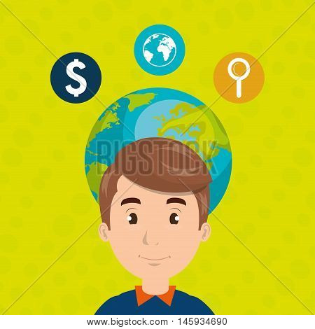man young adult world vector illustration eps10