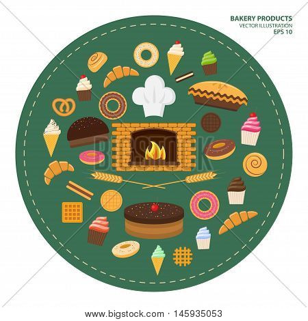 Vector illustration. Flat design style. Set of different kinds of sweet pastries and bakery products. Croissants cupcakes donuts cookies buns pretzel cake pies and flour products from bakery or pastry shop