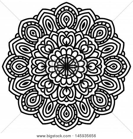 Hand drawn fantasy linear head of flower top view. Circular floral ornament isolated on white background. Doodle decoration. lace mandala in zentangle style. Vector illustration.