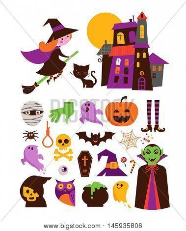 Halloween cute vector icon set