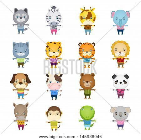 set of cartoon cute animal wearing t-shirts and trousers on white. vector illustration