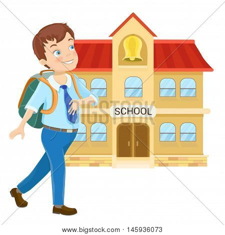 Young boy with backpack walking to school on white. Cartoon vector illustration