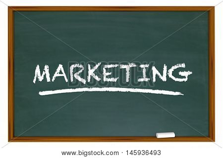 Marketing Education Basics Principles Chalk Board Word 3d Illustration