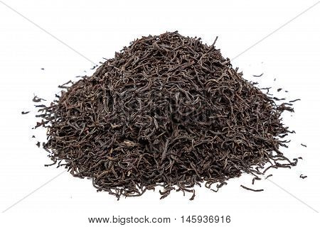 A handful black Lapsany tea isolated on white background.