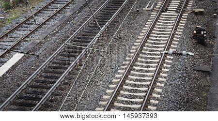 Transportation railway railroad track - high-angle view