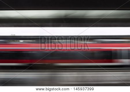 Abstract motion blurred photography of a passing train