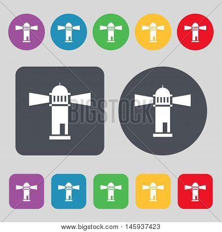 Lighthouse Icon Sign. A Set Of 12 Colored Buttons. Flat Design. Vector